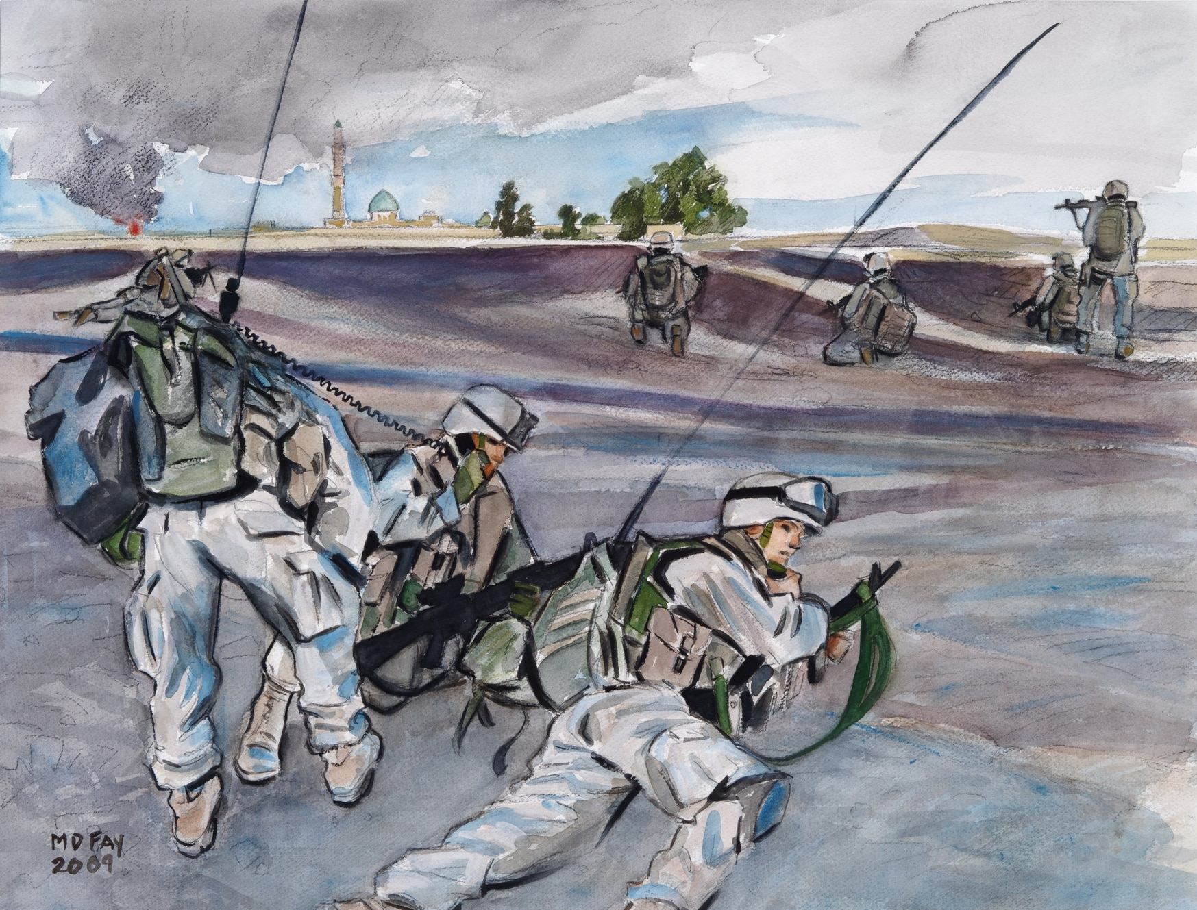 Combat artist and Marine Michael D. Fay was embedded with Fox company 2/1 during its assault on Ubaydi, Iraq. (Art Collection National Museum of the Marine Corps)