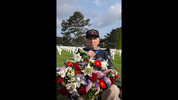 World War II veteran Jerry Deitch, from Nevada, poses at Normandy American Cemetery in Colleville-sur-Mer, Normandy, France, Monday, June 3, 2019. (Rafael Yaghobzadeh/AP)