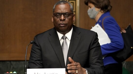 President Joe Biden's nominee for secretary of defense, retired Army Gen. Lloyd Austin, at his confirmation hearing Jan. 19 before the Senate Armed Services Committee. (Greg Nash/Getty Images pool)