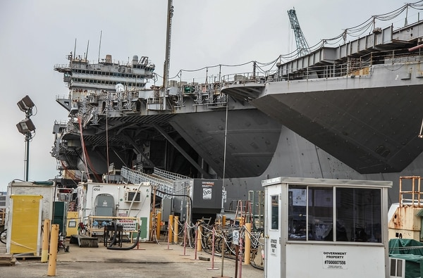 Newport News, Va. (Feb. 2, 2017) -- Government red tape is holding up a decision by the Navy about disposal of the ex-USS Enterprise the world's first nuclear powered aircraft carrier. (photo by Mark D. Faram/Navy Times)