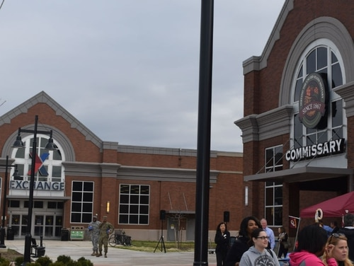 The new commissary at Fort Belvoir, Va., opened in the spring of 2017, is located next to the post exchange. (Kevin Robinson/Defense Commissary Agency)
