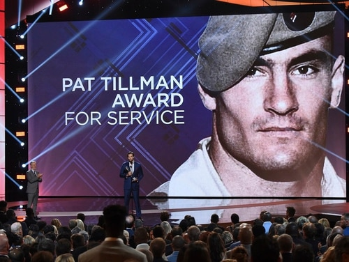 Former Marine Sgt. Jake Wood accepts the Pat Tillman award for service at the ESPY Awards at Microsoft Theater on July 18, 2018, in Los Angeles. (Phil McCarten/AP)