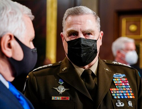 Joint Chiefs Chairman Gen. Mark Milley arrives to the chamber ahead of President Joe Biden speaking to a joint session of Congress on April 28, 2021, in the House Chamber at the U.S. Capitol in Washington. (Melina Mara/The Washington Post via AP, Pool)