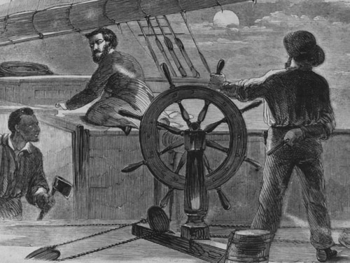 The Attack on the Second Mate. Line engraving published in Harper's Weekly, 1861, depicting the recapture of the schooner S.J. Waring on July 16, 1861. S.J. Waring had been captured by the Confederate privateer Jefferson Davis in the Atlantic on 6 July 1861. Ten days later, her African-American cook, William Tilghman, overwhelmed and killed her Confederate prize crew with an ax. He brought her into New York on 22 July 1861. (U.S. Naval History and Heritage Command)