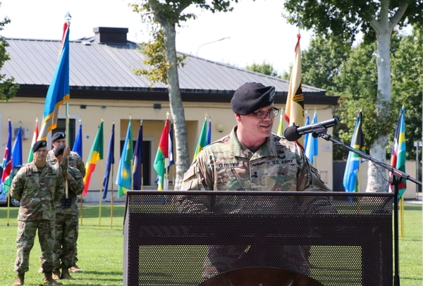 Maj. Gen. Roger Cloutier Jr. assumes command of U.S. Army Africa at headquarters in Vicenza, Italy, Aug. 2, 2018. (Sgt. Jennifer Garza/Army)