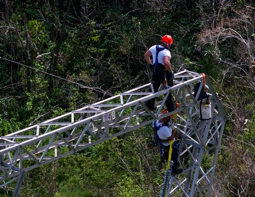 In this Oct. 15, 2017, file photo, Whitefish Energy Holdings workers restore power lines damaged by Hurricane Maria in Barceloneta, Puerto Rico. (Ramon Espinosa/AP)