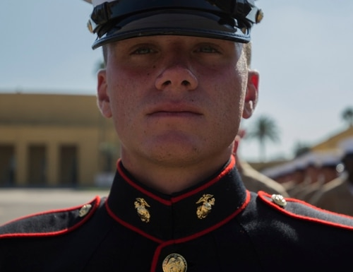 Pfc. Brendan M. Bialy, the 18-year-old guide of Platoon 2147, Golf Company, 2nd Recruit Training Battalion is from Castle Rock, Colorado. (Lance Cpl. Grace J. Kindred/Marine Corps)