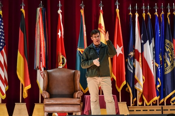 Army Secretary Mark Esper speaks at a town hall forum during his visit to U.S. Army Garrison Bavaria, the Army's largest overseas garrison, at Tower Barracks, Grafenwoehr, Germany, on Jan. 30. (Markus Rauchenberger/Army)