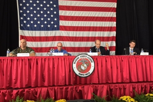 A panel at Modern Day Marine in Quantico, Virginia, discusses the potential threats U.S. forces may face from future terror organizations with significant and innovative tech capabilities (Todd South/staff).