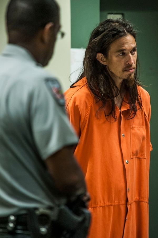 First-appearance hearing for Curtis Perry King, who is accused of three home invasion robberies within 24 hours, at the Cumberland County Detention Center in Judge Lou Olivera's court on Wednesday, Aug. 19, 2015. The Fayetteville Observer/Raul R. Rubiera