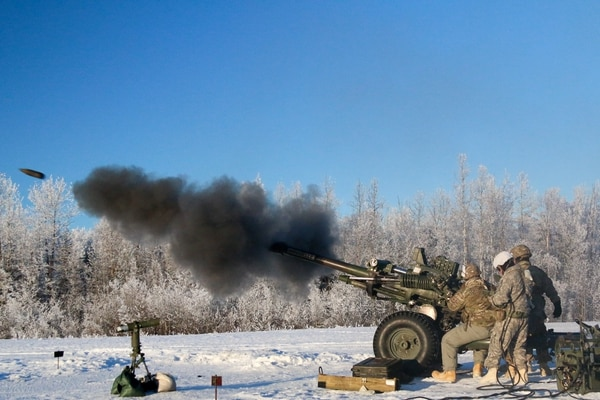 Paratroopers with Alpha Battery, 2nd Battalion, 377th Parachute Field Artillery Regiment, 4th Infantry Brigade Combat Team (Airborne), 25th Infantry Division, fire their M119 Howitzer certifying their capability to shoot accurately in a timely and safe manner at Joint Base Elmendorf-Richardson, Alaska. (Army)