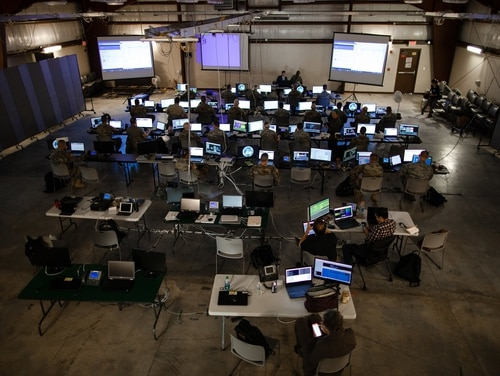 Military cyber personnel train at Camp Atterbury, Indiana, in May 2018. (Army Cyber Command)