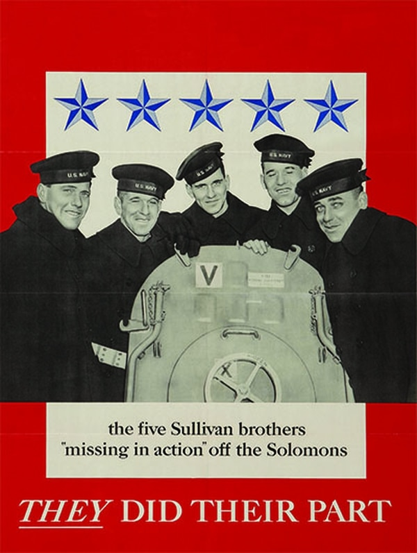 A Navy recruiting poster released in 1943 features all five Sullivan brothers (left to right): Joseph, Francis, Albert, Madison and George. (National Archives)