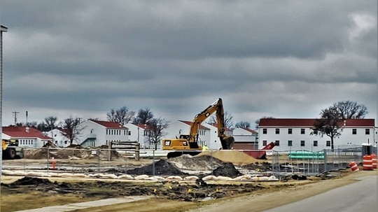 An area of the 1600 block of the cantonment area of Fort McCoy, Wisconsin, on March 26, 2020, where a new barracks is being built. (Army/ Scott Sturkol)