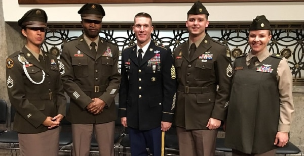 Sergeant Major of the Army Dan Dailey and four soldiers in Army Greens prototypes show off the uniforms Feb. 1, 2018, on Capitol Hill (U.S. Army)
