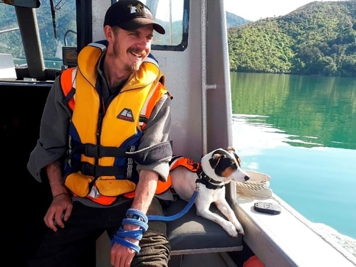 Flint, the rat-detecting dog and its handler Richard Johnston ride on a boat near the Tennyson Inlet Islands in New Zealand. (New Zealand Department of Conservation via AP)