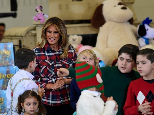 First lady Melania Trump speaks with children during a Toys for Tots event at Joint Base Anacostia-Bolling in Washington, Tuesday, Dec. 11, 2018. (Susan Walsh/AP)