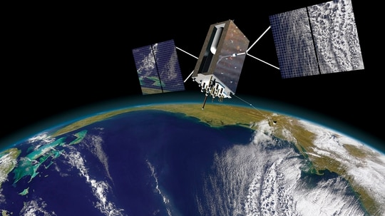 GPS III satellites are capable of broadcasting the M-Code signal, but the U.S. military needs an M-Code-capable ground system and receivers to get the new signal into the hands of troops. (Lockheed Martin)