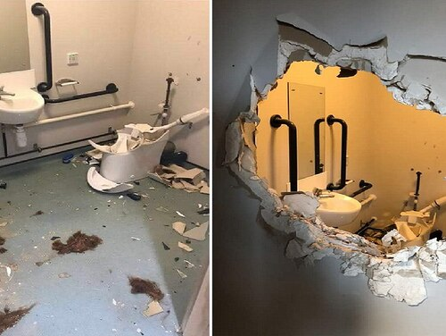 Photos of the damage done by a British Army officer in his effort to escape bathroom captivity. (Daily Mail)