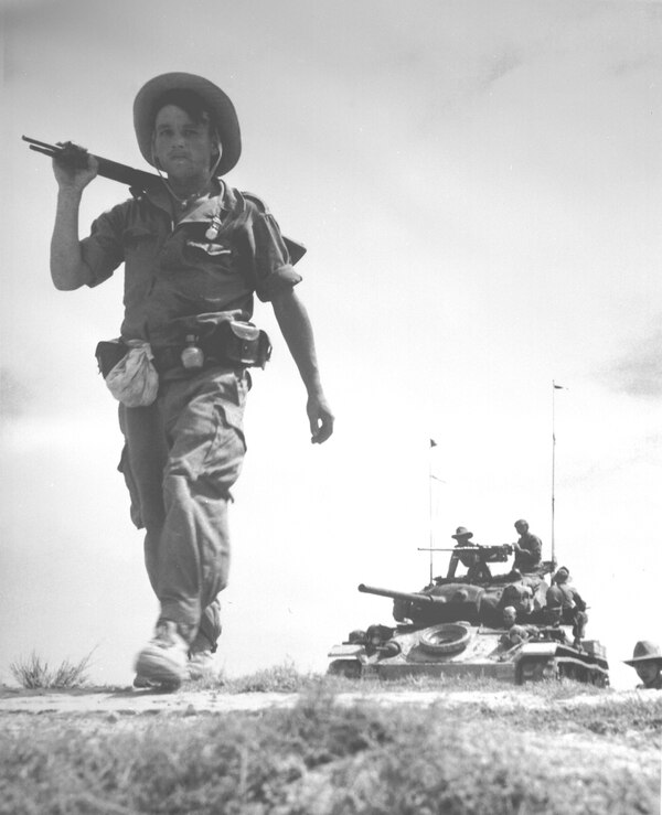 French Legionnaire with US-provided tank, 1954. (Air Force)