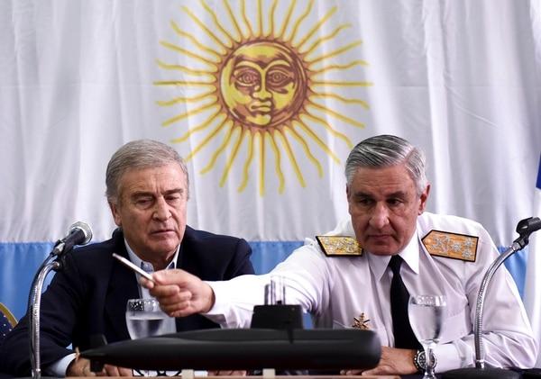 Argentina's Defense Minister Oscar Aguad, left, and Argentine Navy Chief Jose Luis Villan attend a press conference in Buenos Aires on Saturday. Argentina's navy announced early Saturday that they have located the missing submarine ARA San Juan in the Atlantic, a year after it disappeared with 44 crew members aboard.(Pablo Stefanec/AP)