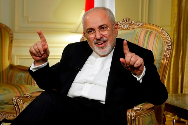 Iran's Foreign Minister Mohammad Javad Zarif is interviewed by The Associated Press, in New York, Tuesday, April 24, 2018. Zarif is warning the Trump administration that pulling out from the Iran nuclear deal would undermine talks with North Korea by proving that America reneges on its promises. (Richard Drew/AP)