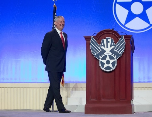Secretary of Defense Jim Mattis speaks during the Air Force Association's Air, Space and Cyber Conference 2017 at National Harbor, Maryland, on Sept. 20 (Alan Lessig/Staff).