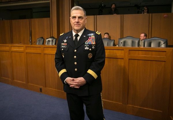 Gen. Mark Milley, currently in charge of Army Forces Command, arrives at his nomination hearing to be Army Chief of Staff before the Senate Armed Services Committee on Capitol Hill in Washington, D.C., on Tuesday, July 21, 2015.