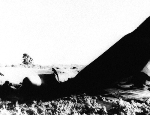 In this Jan. 17, 1966, file photo, part of the wrecked fuselage of a US Air Force B-52 bomber lies where it crashed near Palomares, northeast of Almeria, Spain, after a collision in flight with a USAF KC-135 tanker while refueling. (AP Photo/File)