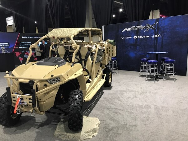 Polaris unveils its MRZR X -- its first optionally manned and hybrid powered vehicle -- at AUVSI. It is entered in the Army's Squad Multipurpose Equipment Transport (SMET) competition. (Photo courtesy of Polaris)