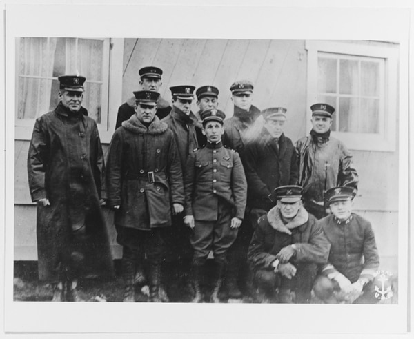 Lt. Cmdr. H. B. Cecil and officers on duty at L'Aber Vrach, France, when the armistice was signed in 1918. (U.S. Naval History and Heritage Command)