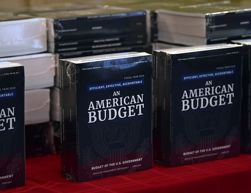 The White House's fiscal 2019 budget is on display after arriving on Capitol Hill on Feb. 12, 2018. (Susan Walsh/AP)