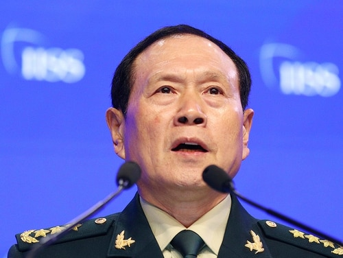 Chinese Defense Minister Gen. Wei Fenghe speaks during the fourth plenary session of the 18th International Institute for Strategic Studies (IISS) Shangri-la Dialogue, an annual defense and security forum in Asia, in Singapore, Sunday, June 2, 2019. (Yong Teck Lim/AP)