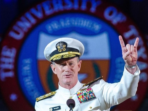 Retired Adm. Bill McRaven, once the Navy's highest-ranking SEAL, said the U.S. should come to terms with being in Afghanistan for many years to come. (Marsha Miller/The University of Texas at Austin via AP)