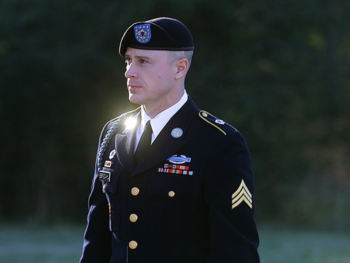 In this photo, Army Sgt. Bowe Bergdahl arrives for a pretrial hearing at Fort Bragg, North Carolina. (AP Photo/Ted Richardson)