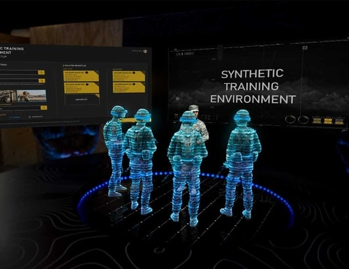 The Army uses the Integrated Visual Augmentation System (IVAS) to create situational awareness on complex battlefieds. (PEO Soldier)
