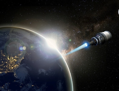 DARPA believes nuclear-powered propulsion could enable rapid maneuver in space — a capability that is difficult to achieve with current electric and chemical propulsion systems. (U.S. Defense Advanced Research Projects Agency)