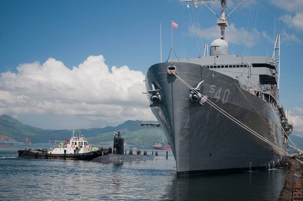The Virginia-class submarine Hawaii pulls alongside the tender Frank Cable on Sept. 7, 2012, at Subic Bay, Philippines. (Navy)