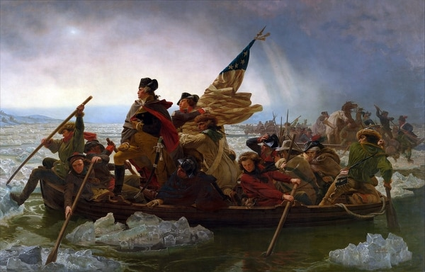 Washington Crossing the Delaware, an 1851 oil-on-canvas painting by the German-American artist Emanuel Leutze, commemorates Gen. George Washington's famous crossing of the Delaware River with the Continental Army on the night of December 25–26, 1776. (Metropolitan Museum of Art, New York City)