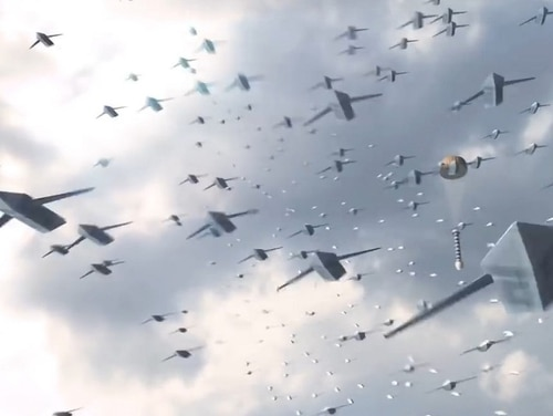 Concept art from the Air Force Research Lab showing a drone swarm that the service could potentially use in the future. (AFRL)