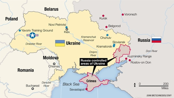Map shows the Russian-controlled areas of Ukraine.