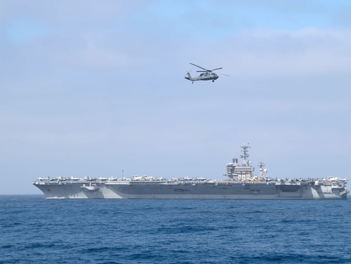 The aircraft carrier Nimitz, shown here last month, left San Diego for a deployment Monday. (Mass Communication Specialist 2nd Class Logan C. Kellums/Navy)