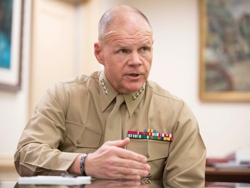 Gen. Robert Neller, the 37th Commandant of the Marine Corps, is interviewed in his office at the Pentagon in Arlington, Va., on Wednesday, January 20, 2016. (Mike Morones/Staff)