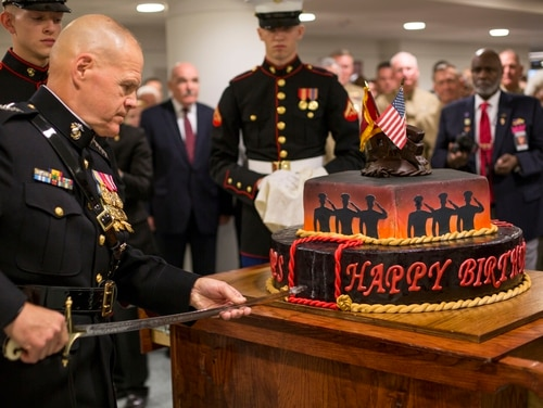 Commandant of the Marine Corps Gen. Robert Neller cuts the cake during the Headquarters Marine Corps official Marine Corps Birthday Cake Cutting ceremony in 2016. (Cpl. Brian Burdett/Marine Corps)