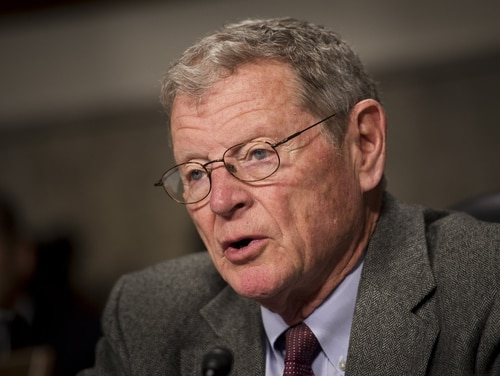 FILE - Senate Armed Services Committee member Sen. James Inhofe, R-Okla., delivered a speech about committee priorities at National Defense University on Dec. 6, 2018. (Photo credit should read MANDEL NGAN/AFP/Getty Images)