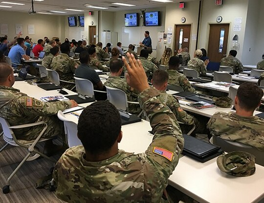 Soldiers listen during a Transition Assistance Program at Fort Stewart in Georgia In June 2019. (Amanda Reichert/Army)