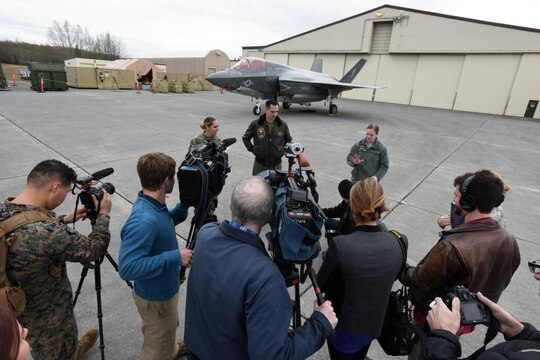 Marine Corps Maj. Adam Wellington, F-35B pilot and safety officer, speaks to media about the F-35B Lightning II aircraft May 9, 2017. (Master Sgt. John Gordinier/Air Force)