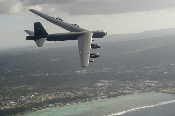 A B-52H Stratofortress flies during exercise Cope North 15 off the coast of Guam in 2015. A similar aircraft launched an airstrike against a Taliban position in Afghanistan on Feb. 4, 2018. (Tech. Sgt. Jason Robertson/Air Force)