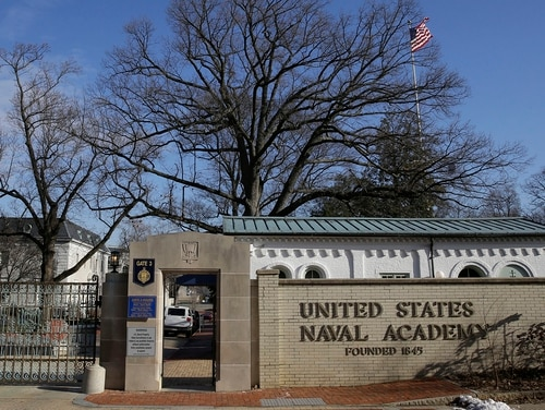 A sign stands outside of an entrance to the U.S. Naval Academy campus in Annapolis, Md., on Jan. 9,2014. (Patrick Semansky/AP)