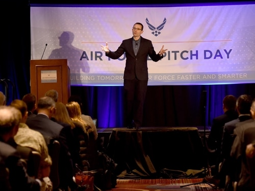 Dr. Will Roper, assistant secretary of the Air Force for acquisition, technology and logistics, speaks to a crowd of small businesses, venture capitalists and Airmen during the Inaugural Air Force Pitch Day in Manhattan, New York, March 7, 2019. (Tech Sgt. Anthony Nelson Jr./Air Force)